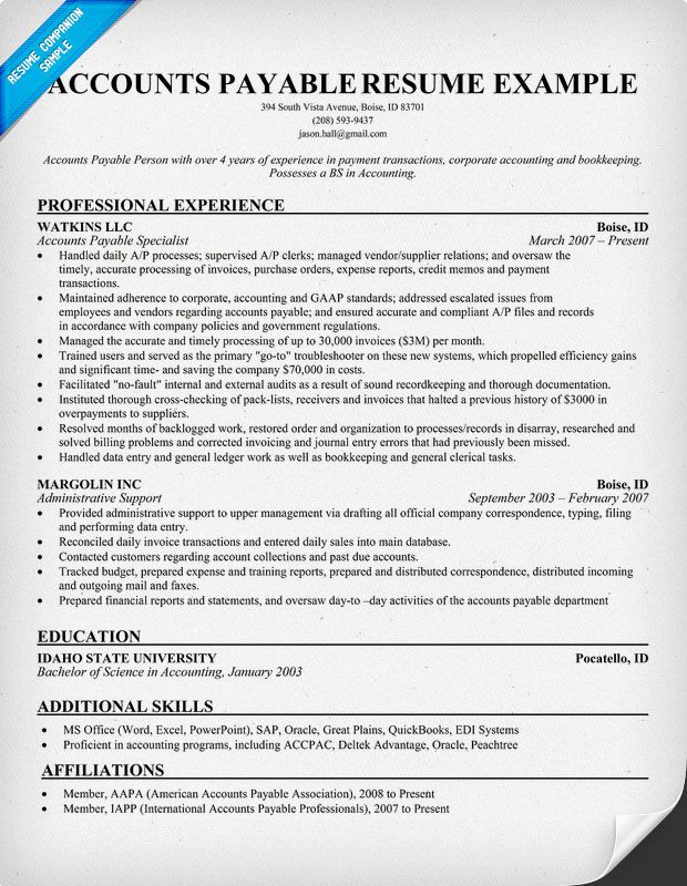 accounting resume writing tips accounts payable examples objective sample the outsiders Resume Accounts Payable Resume Sample