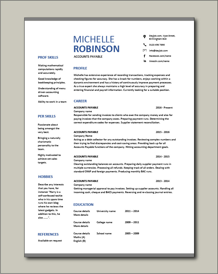 accounts payable resume sample job description salary example accountant format for Resume Resume Format For Accounts Executive Free Download