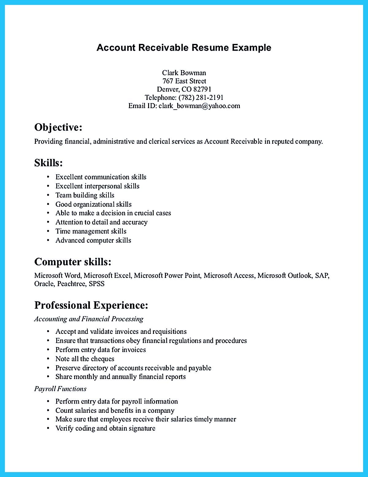accounts receivable resume presents both skills and also the strengths of candidate in Resume Strengths For Resume Examples