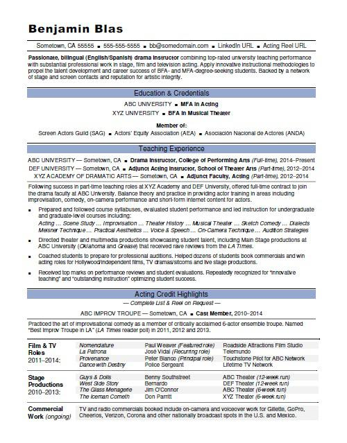 acting resume monster theatre performance template instructor excellent examples Resume Theatre Performance Resume Template