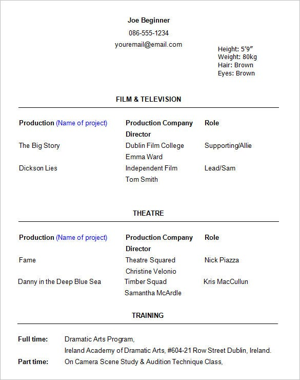 acting resume templates free samples examples formats premium best template beginner Resume Best Acting Resume Template