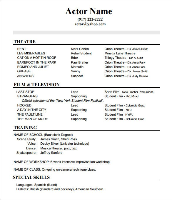 acting resume templates free samples examples formats premium theatre performance Resume Theatre Performance Resume Template