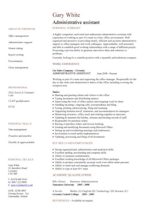 administrative assistant cv sample planning and organizing clerical office jobs resume Resume Example Resume Of Administrative Assistant