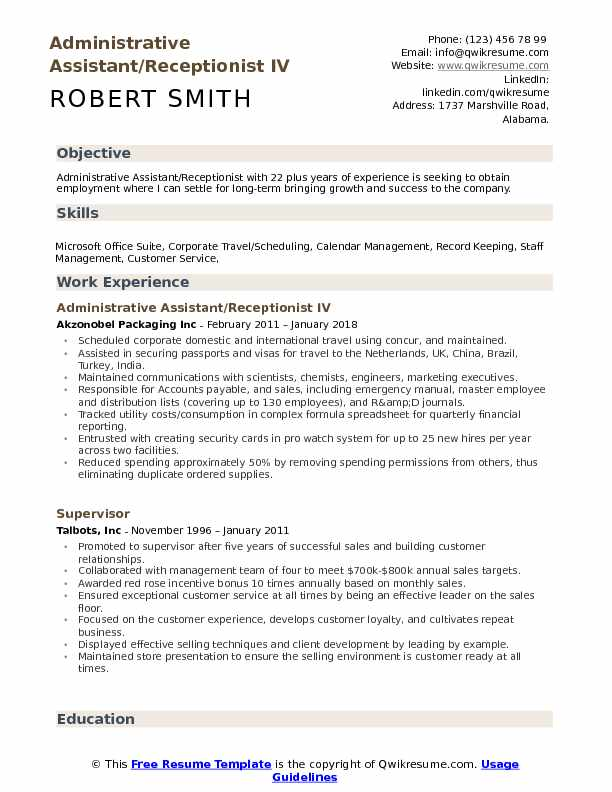administrative assistant receptionist resume samples qwikresume pdf rn airport Resume Administrative Assistant Resume