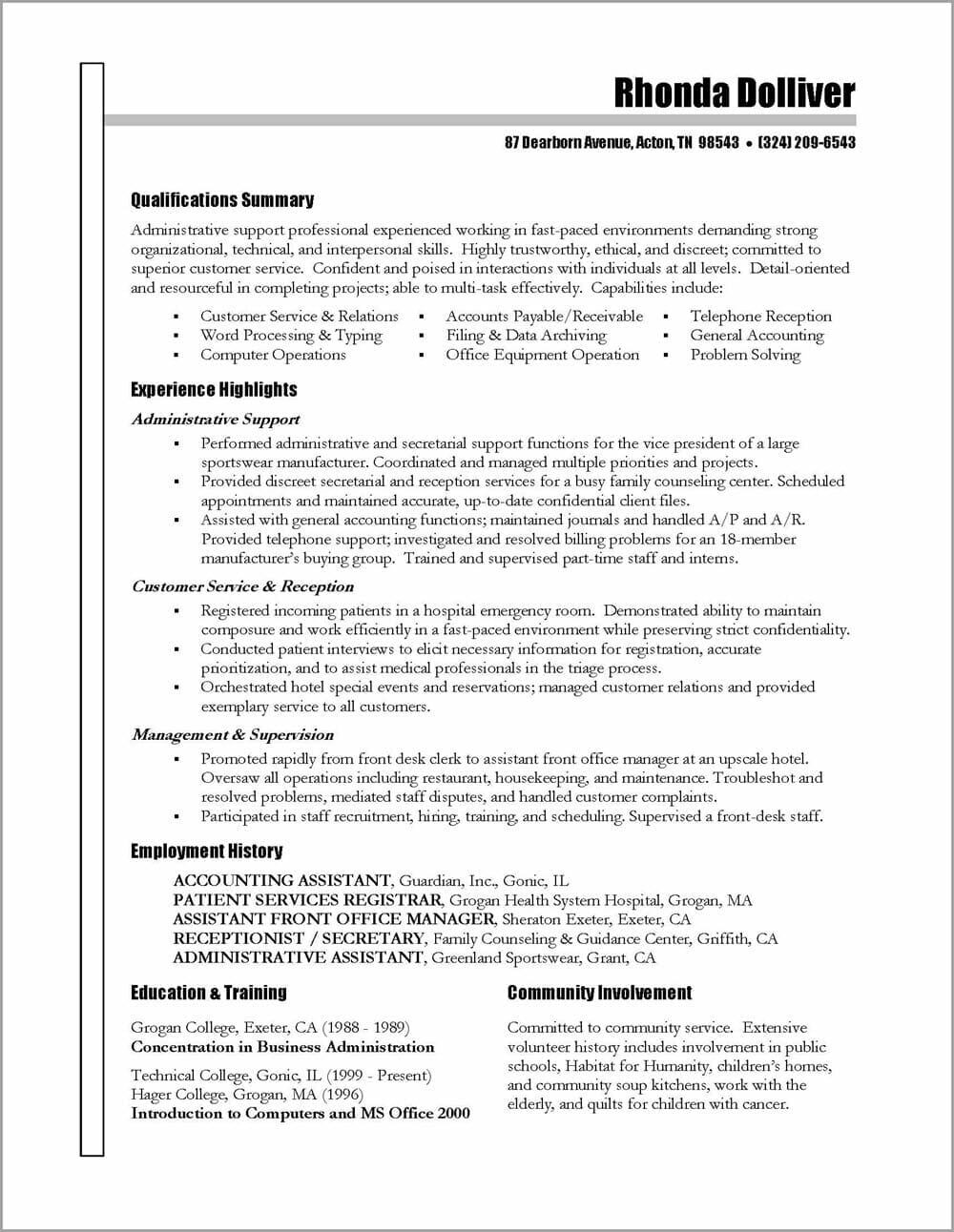 administrative assistant resume distinctive career services functional preferred name on Resume Administrative Assistant Functional Resume