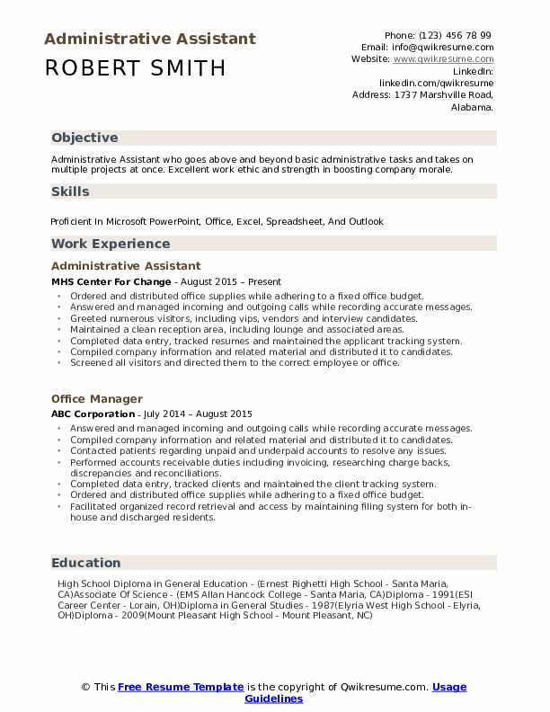 administrative assistant resume samples qwikresume free templates pdf time management Resume Free Administrative Assistant Resume Templates