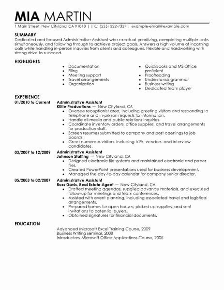 administrative assistant resume summary elegant best office examples executive mac Resume Best Executive Assistant Resume