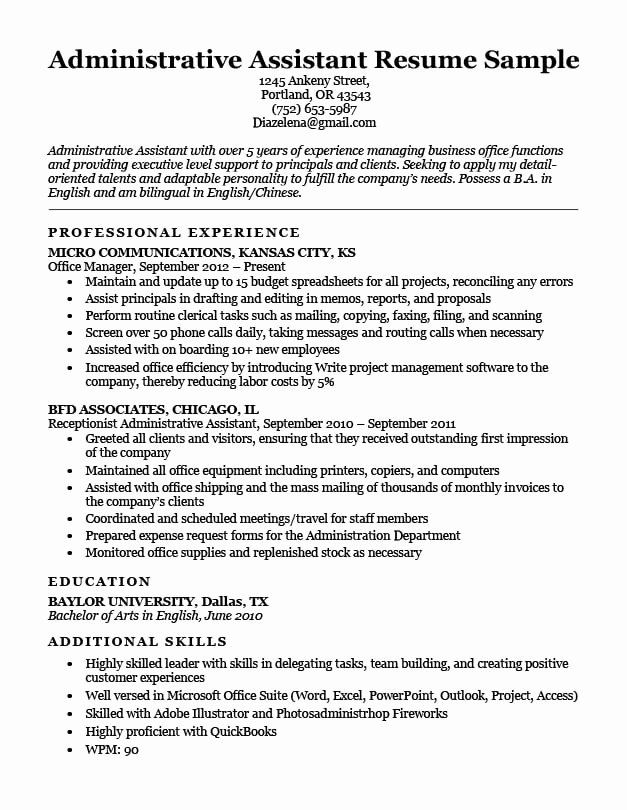 administrative assistant resume summary fresh job description examples example of Resume Example Resume Of Administrative Assistant