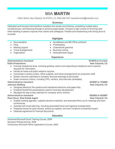 administrative assistant resume template for microsoft word livecareer administration Resume Administrative Assistant Resume Template