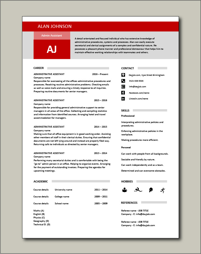 administrative assistant resume template free templates cv janitorial sample examples now Resume Free Administrative Assistant Resume Templates