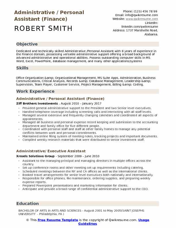 administrative personal assistant resume samples qwikresume skills pdf for masters Resume Personal Assistant Skills Resume