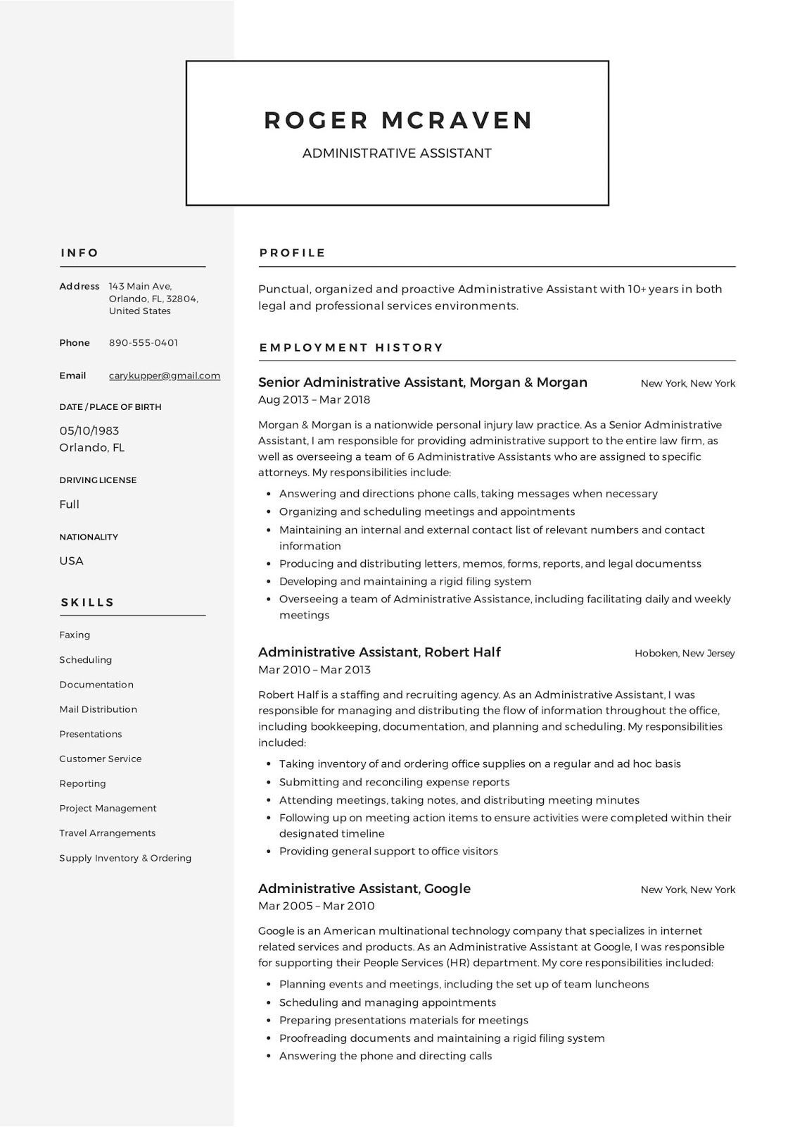 administrative resume template free microsoft word assistant office manager event planner Resume Free Resume Examples 2020