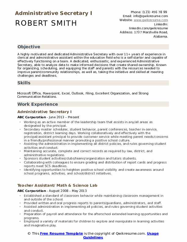 administrative secretary resume samples qwikresume skills pdf hotel and restaurant Resume Secretary Resume Skills