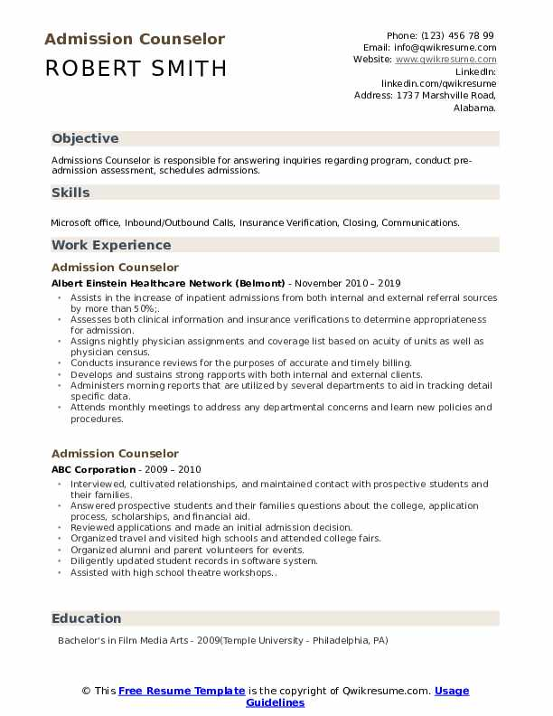 admission counselor resume samples qwikresume college templates free pdf sample for data Resume College Admission Resume Templates Free