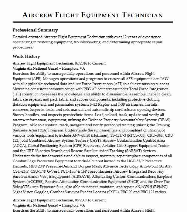 aircrew flight equipment nco resume example air force reserves agr tr ogden professional Resume Aircrew Flight Equipment Resume