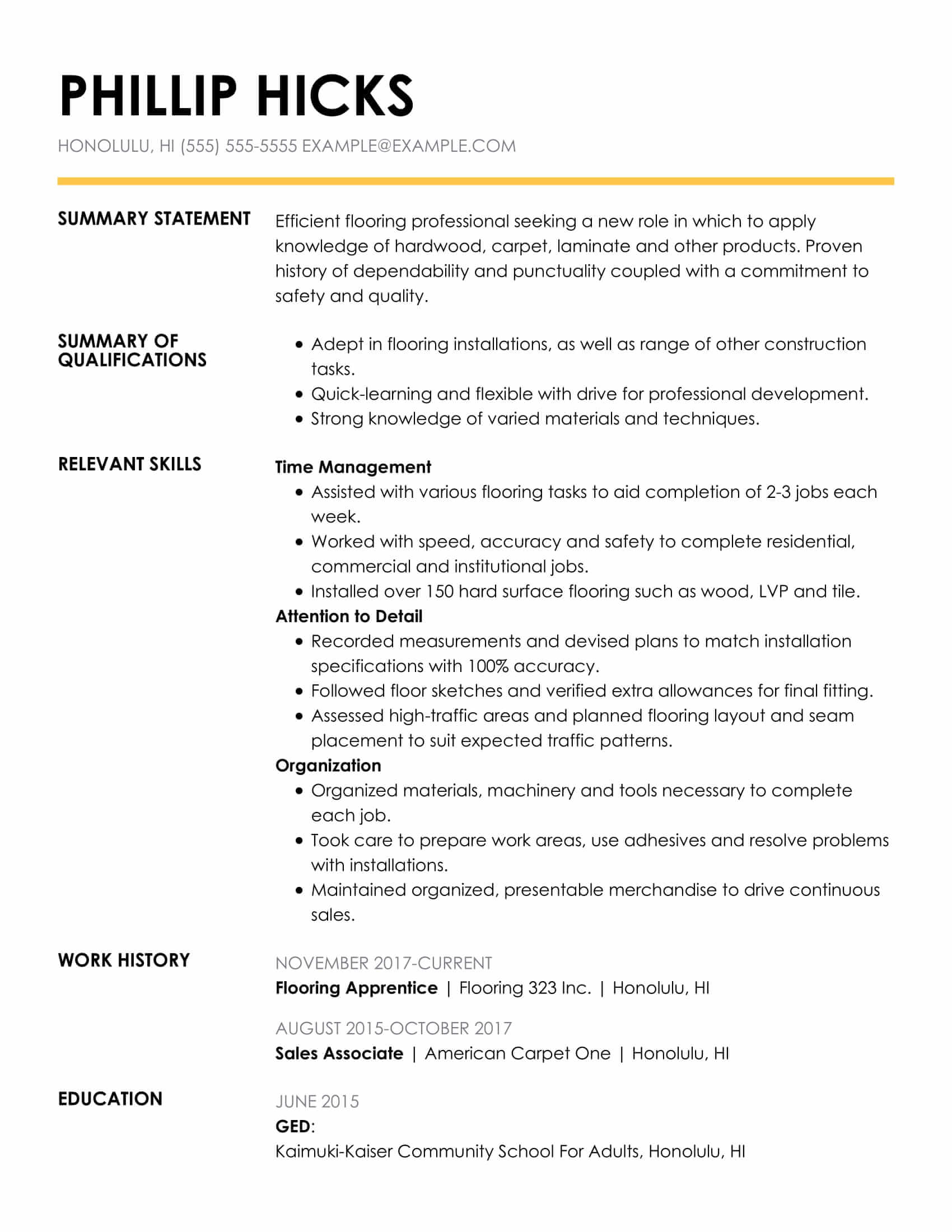 amazing construction resume examples livecareer template for one job history insightful Resume Resume Template For One Job History