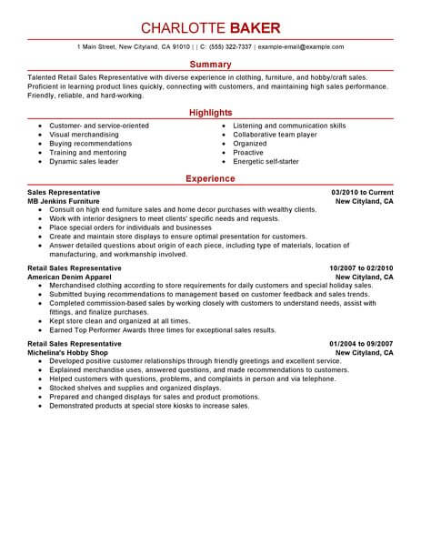 amazing customer service resume examples livecareer skills rep retail example modern Resume Customer Service Skills Resume Examples