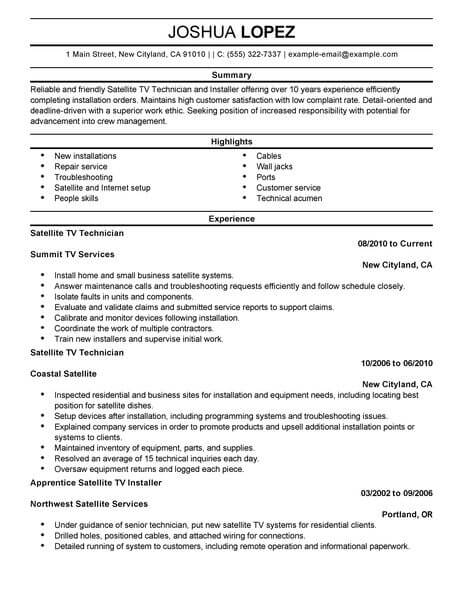 amazing customer service resume examples livecareer summary for satellite tv technician Resume Resume Summary Examples For Customer Service