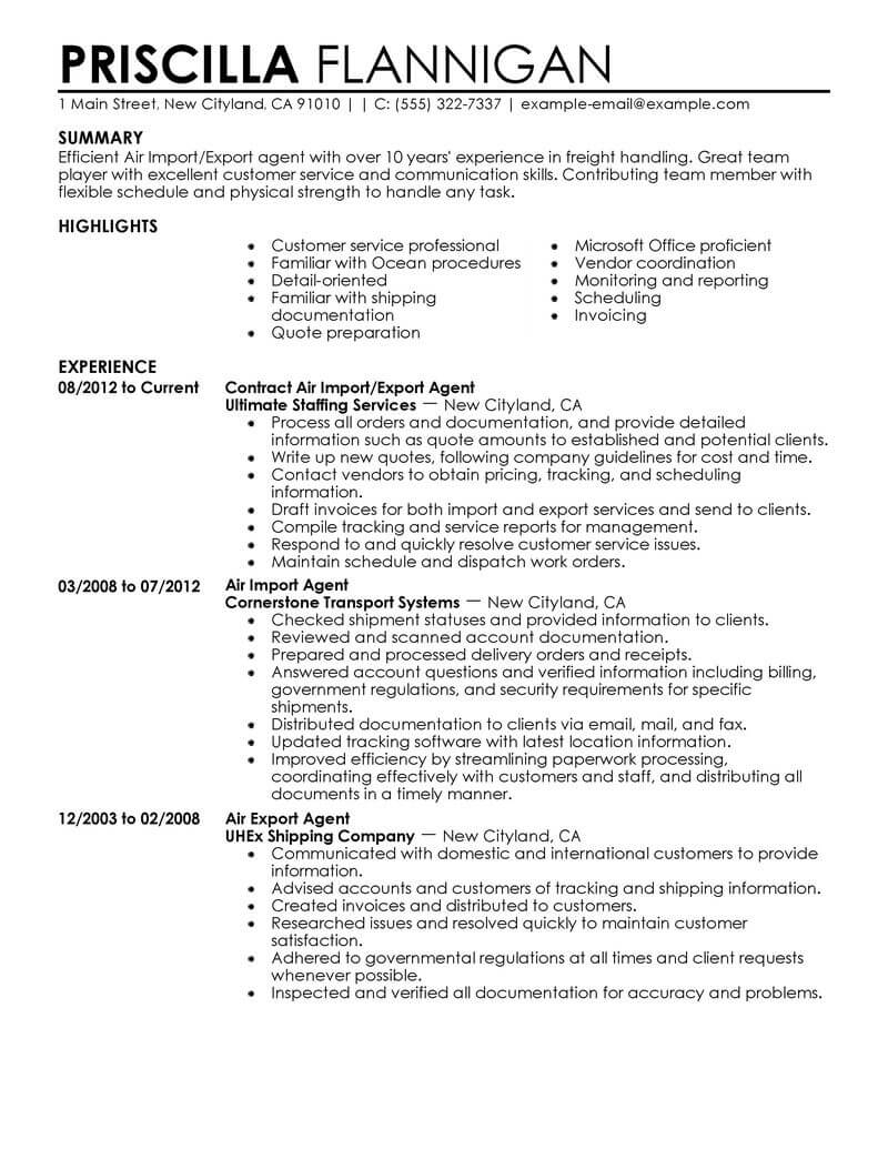 amazing government military resume examples livecareer air import export agent Resume Military Resume Examples