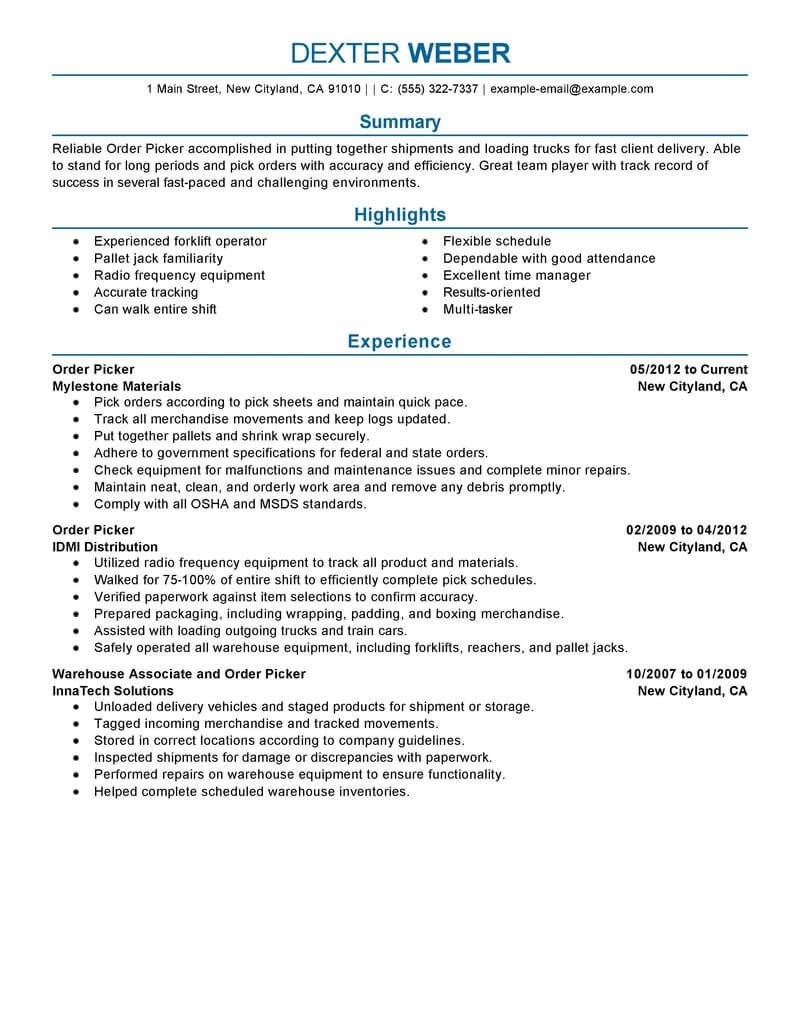 amazing government military resume examples livecareer order picker professional rn Resume Military Resume Examples
