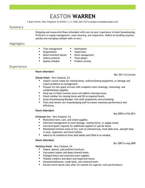 amazing hotel hospitality resume examples livecareer for job room attendant example Resume Resume For Hotel Job