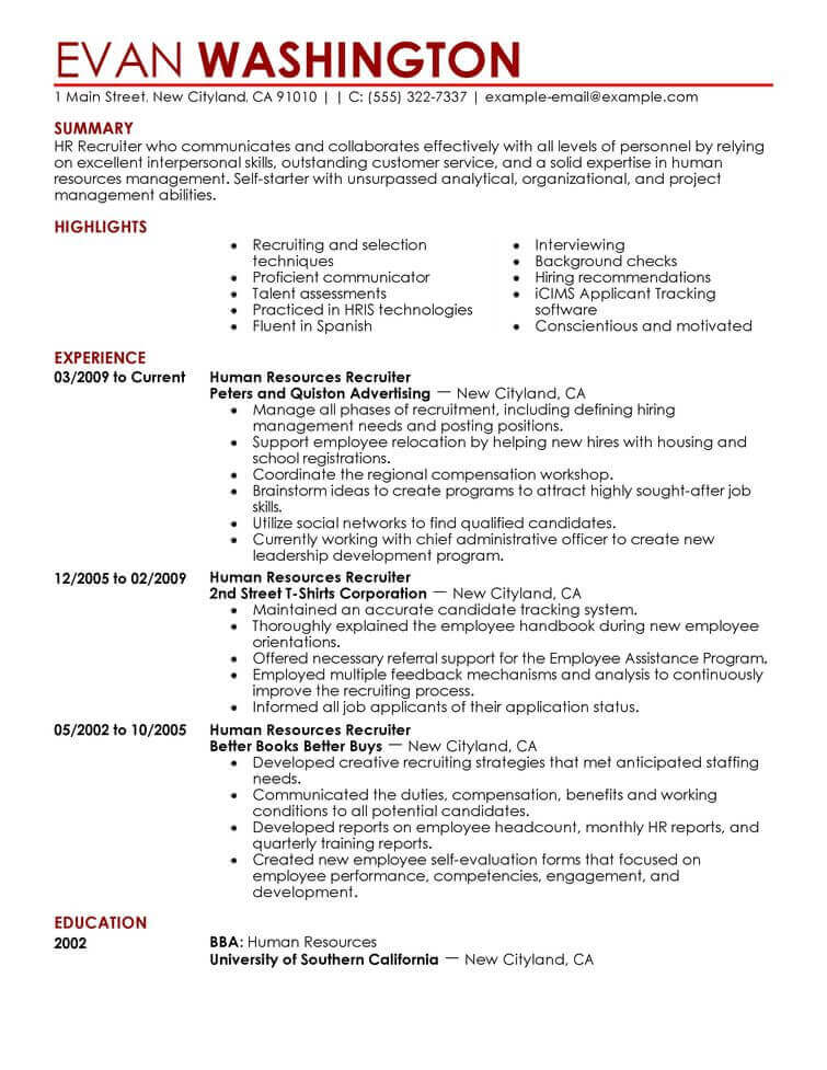 amazing human resources resume examples livecareer entry level hr recruiting and Resume Entry Level Hr Resume