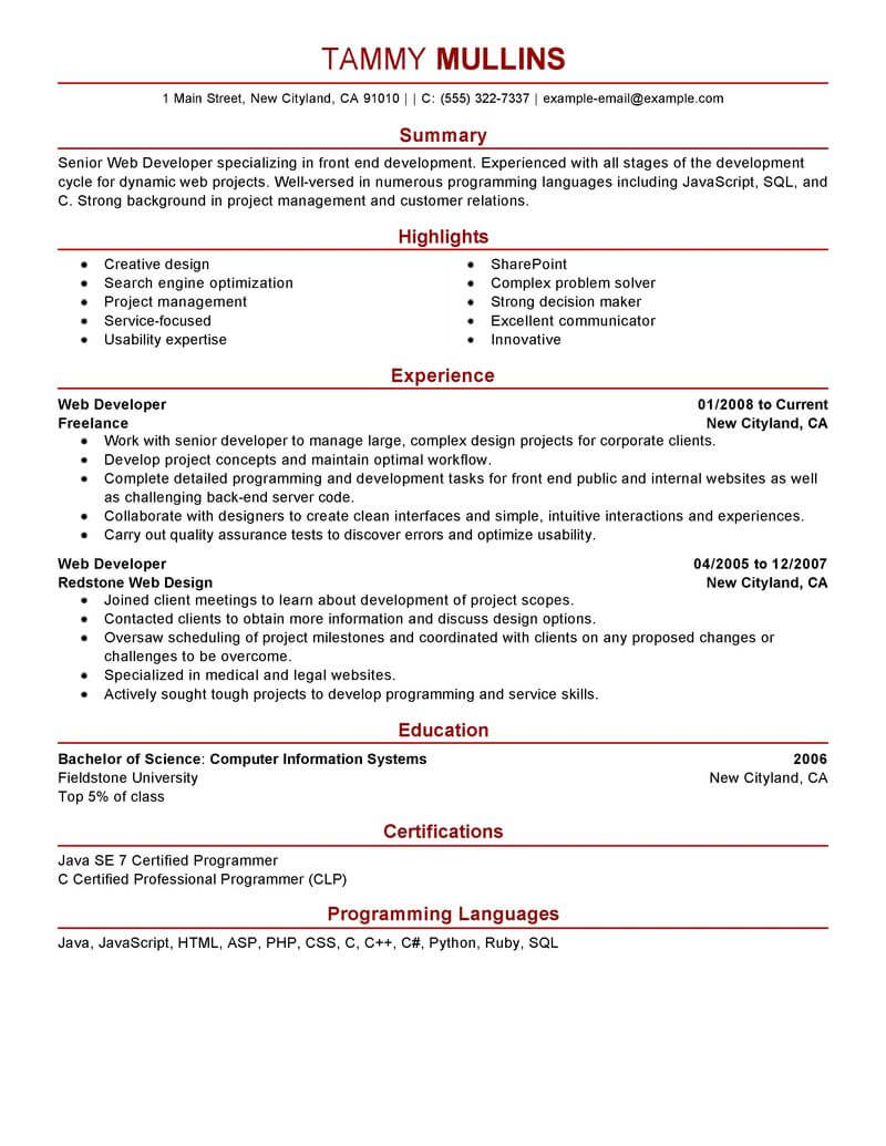 amazing it resume examples livecareer professional web developer computers technology Resume It Professional Resume Examples