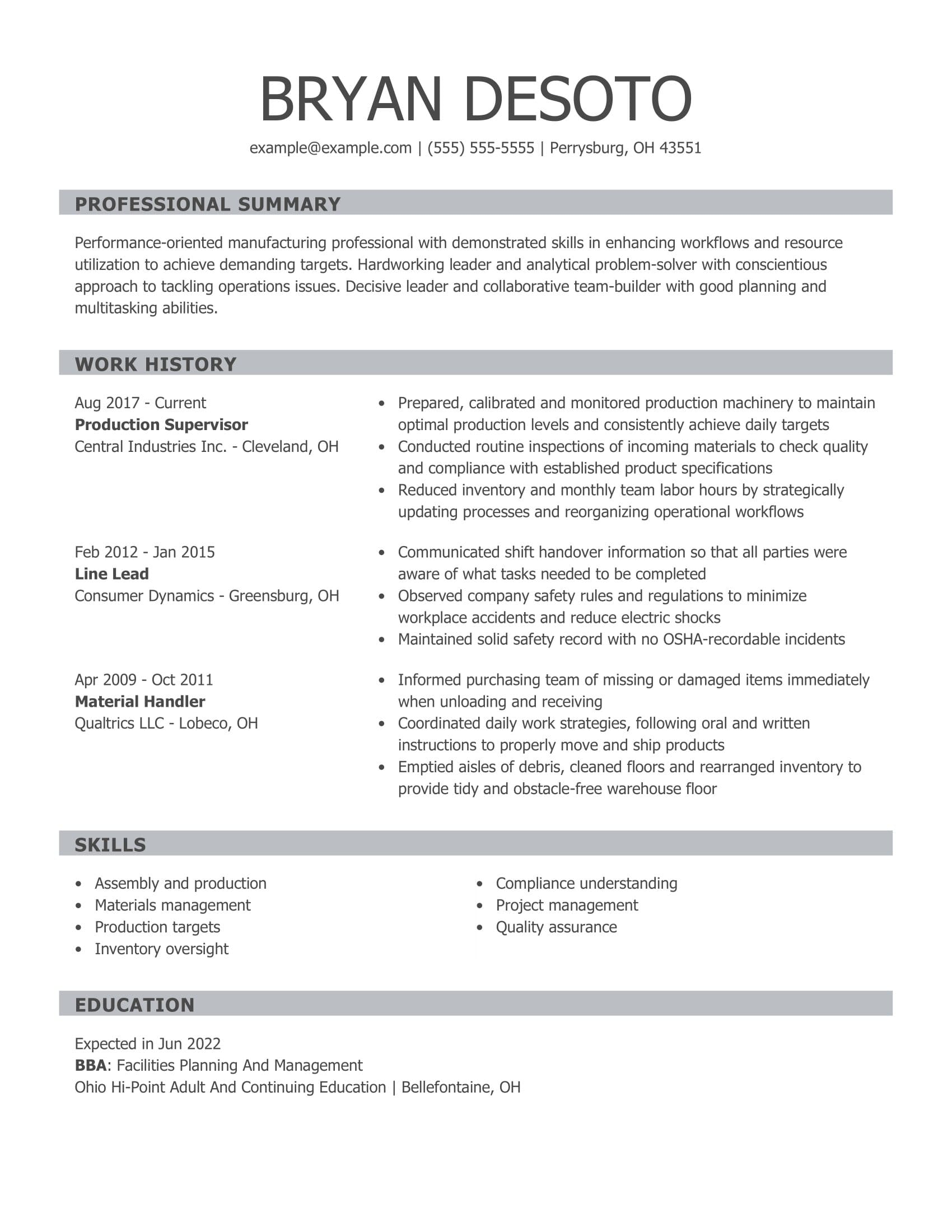 amazing production resume examples livecareer entry level supervisor personal care aide Resume Entry Level Production Resume