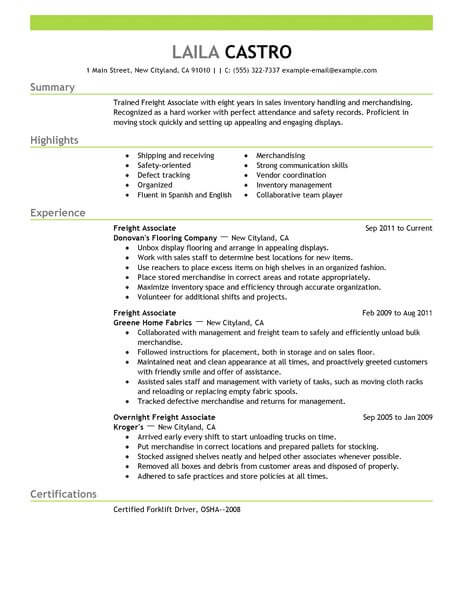 amazing resume examples livecareer bullet points freight associate example emphasis Resume Sales Resume Bullet Points
