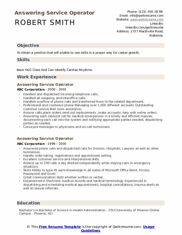 answering service operator resume samples qwikresume phones on pdf tips for making help Resume Answering Phones On Resume