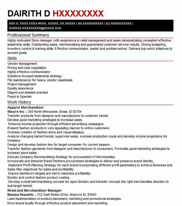 apparel merchandiser resume example resumes livecareer assistant sample surgical Resume Assistant Merchandiser Resume Sample