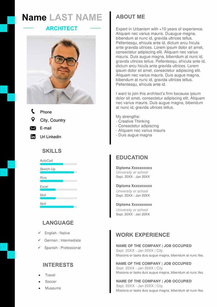 architecture resume example free design template curriculum vitae good bullet points for Resume Free Resume Templates With Bullet Points