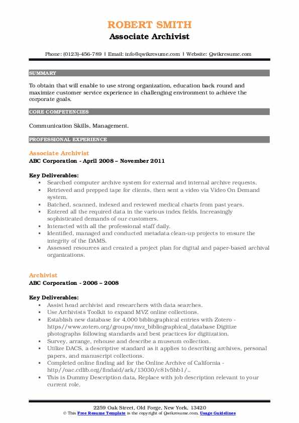 archivist resume samples qwikresume entry level museum pdf activities and honors examples Resume Entry Level Museum Resume
