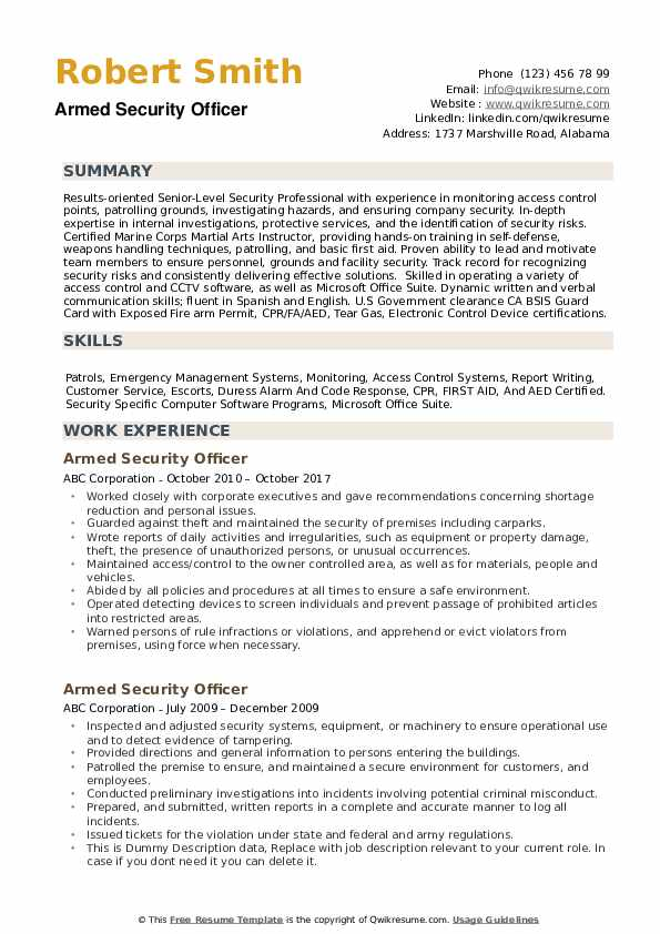 armed security officer resume samples qwikresume guard pdf administrative professional Resume Armed Security Guard Resume