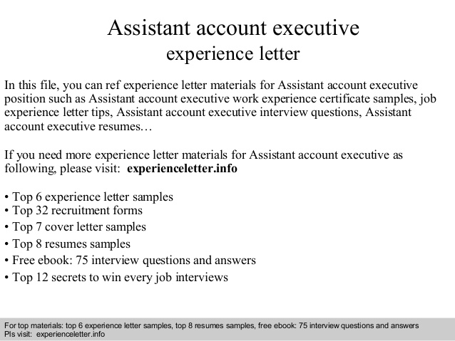 assistant account executive experience letter resume format for accounts free ux Resume Resume Format For Accounts Executive Free Download