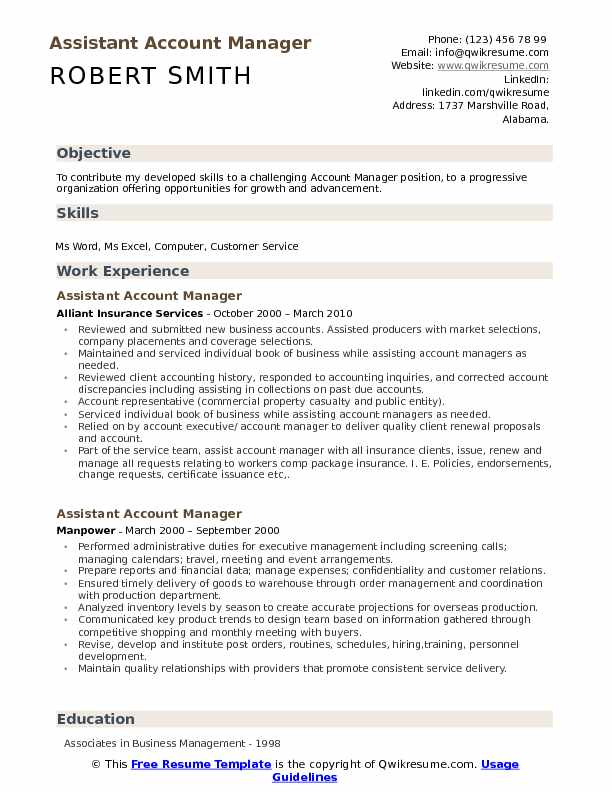 assistant account manager resume samples qwikresume template for position pdf nickname on Resume Resume Template For Manager Position