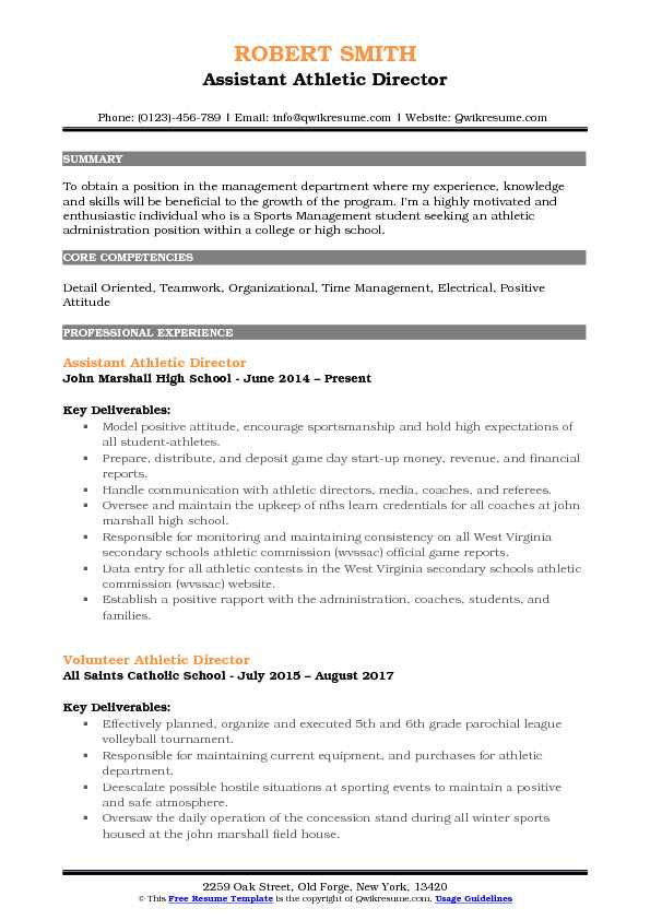 assistant athletic director resume samples qwikresume sports management examples pdf Resume Sports Management Resume Examples