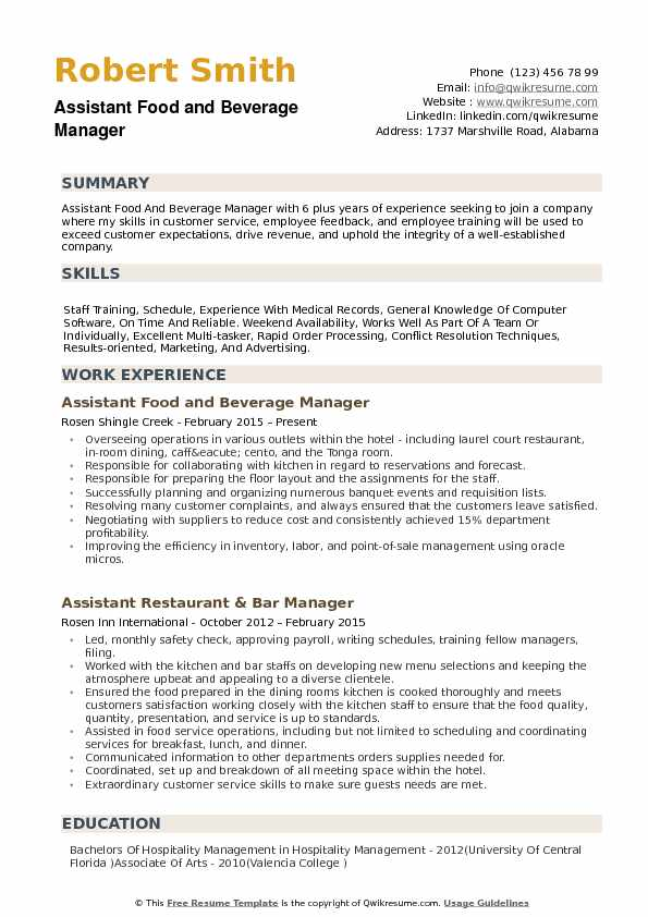 assistant food and beverage manager resume samples qwikresume pdf federal government Resume Food And Beverage Resume