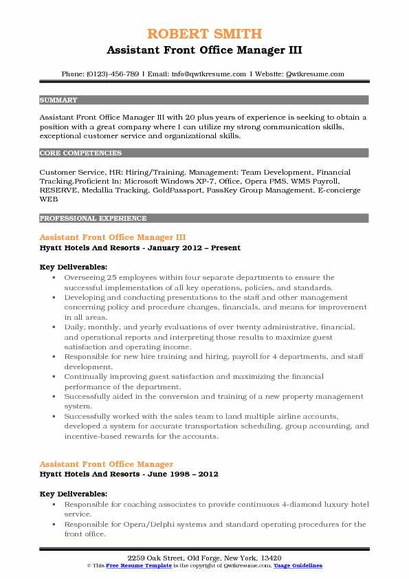 assistant front office manager resume samples qwikresume sample pdf financial specialist Resume Front Office Manager Resume Sample