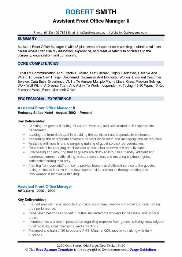 assistant front office manager resume samples qwikresume sample pdf teenager examples for Resume Front Office Manager Resume Sample
