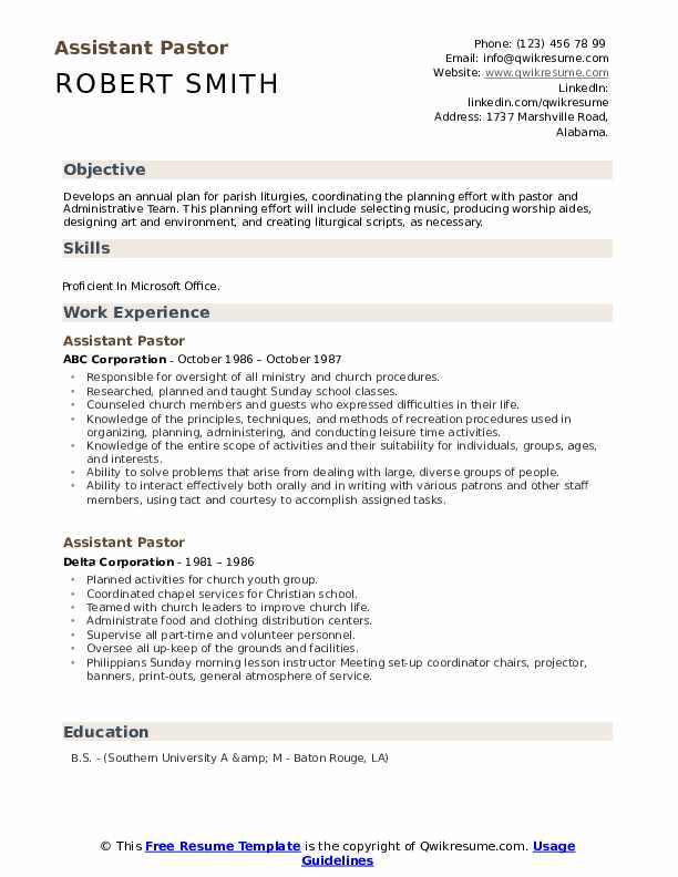 assistant pastor resume samples qwikresume ministry examples pdf detail oriented holder Resume Ministry Resume Examples