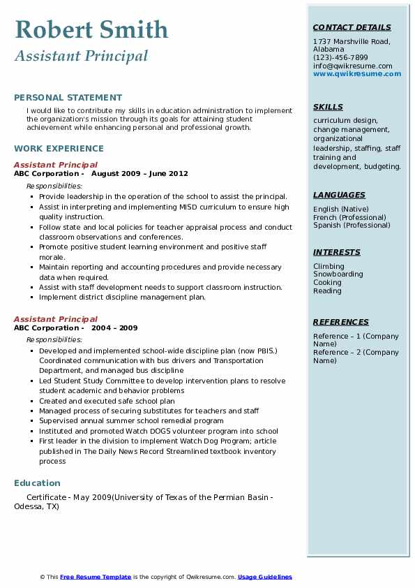assistant principal resume samples qwikresume objective examples pdf including languages Resume Principal Resume Objective Examples