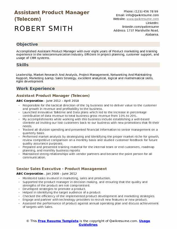 assistant product manager resume samples qwikresume telecom pdf robin ryan examples Resume Telecom Product Manager Resume