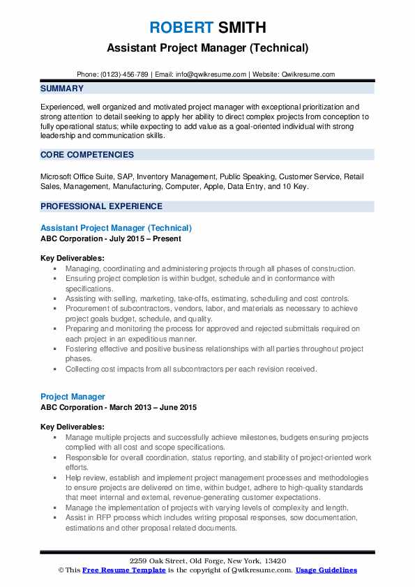 assistant project manager resume samples qwikresume pdf food service different types of Resume Assistant Project Manager Resume