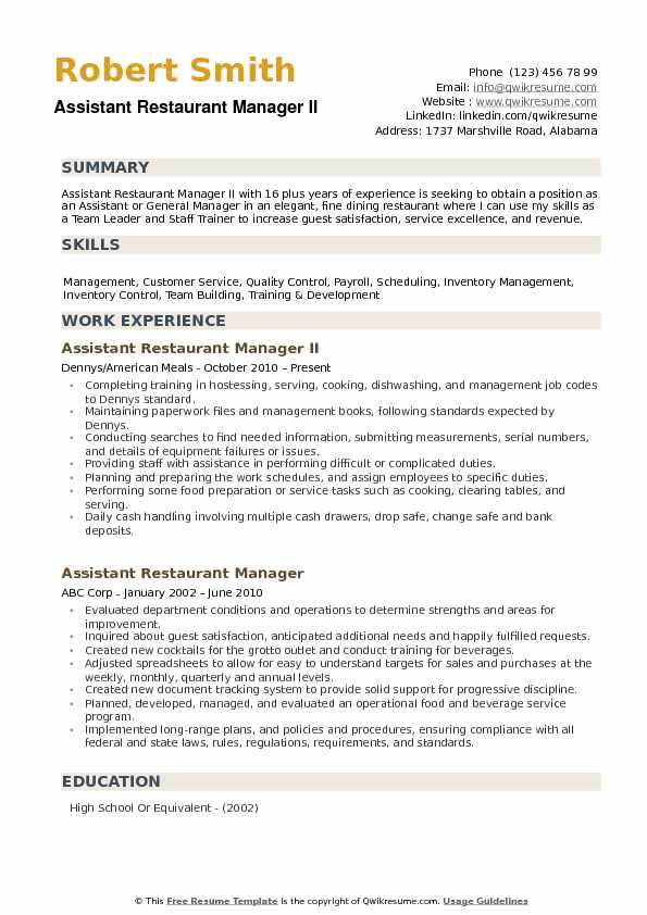 assistant restaurant manager resume samples qwikresume examples pdf client services Resume Restaurant Manager Resume Examples