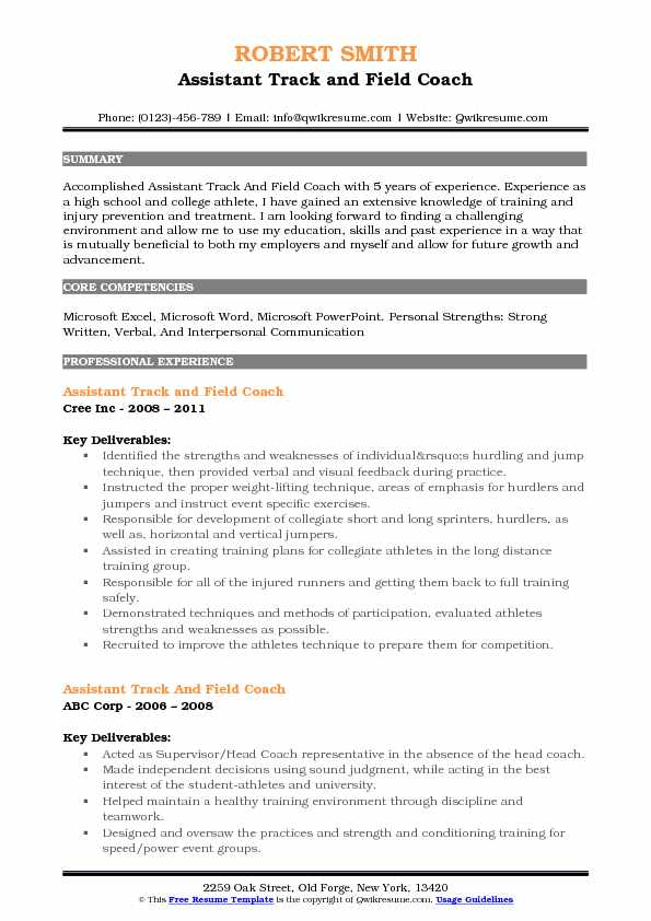 assistant track and field coach resume samples qwikresume example pdf best action words Resume Track And Field Resume Example