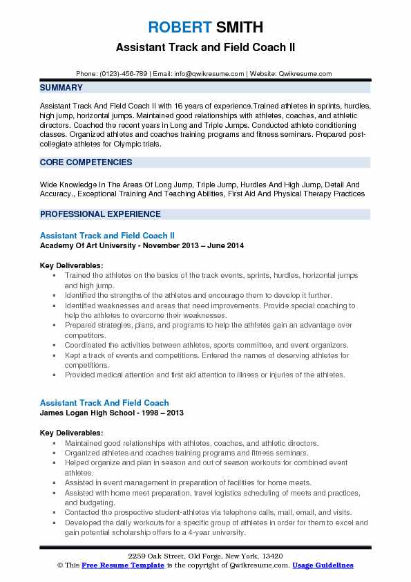 assistant track and field coach resume samples qwikresume example pdf career objective Resume Track And Field Resume Example