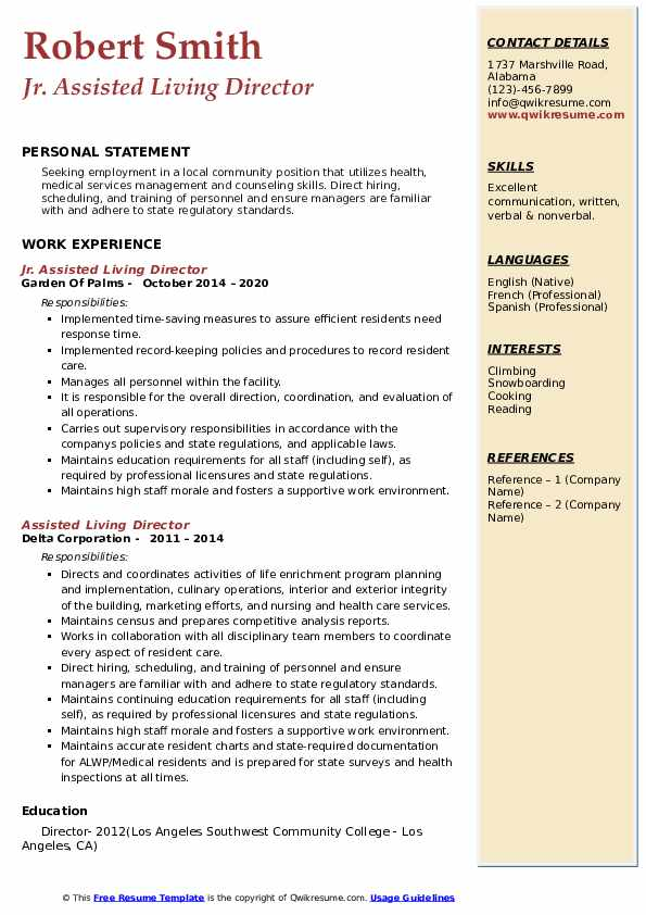 assisted living director resume samples qwikresume duties pdf makeup artist templates Resume Assisted Living Duties Resume