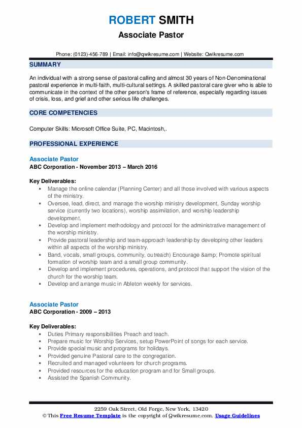 associate pastor resume samples qwikresume ministry examples pdf sample email submitting Resume Ministry Resume Examples