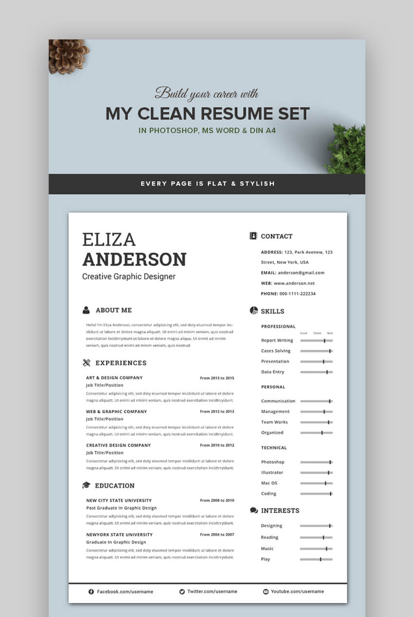 attractive eye catching resume cv templates with stylish aesthetics best looking my clean Resume Best Looking Resume Templates